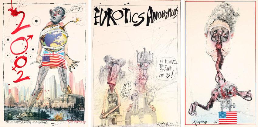 Ralph Steadman - George Bush (Left) - Eurotics Anonymous (Center) - Clinton (Right), shop, print, collection, page