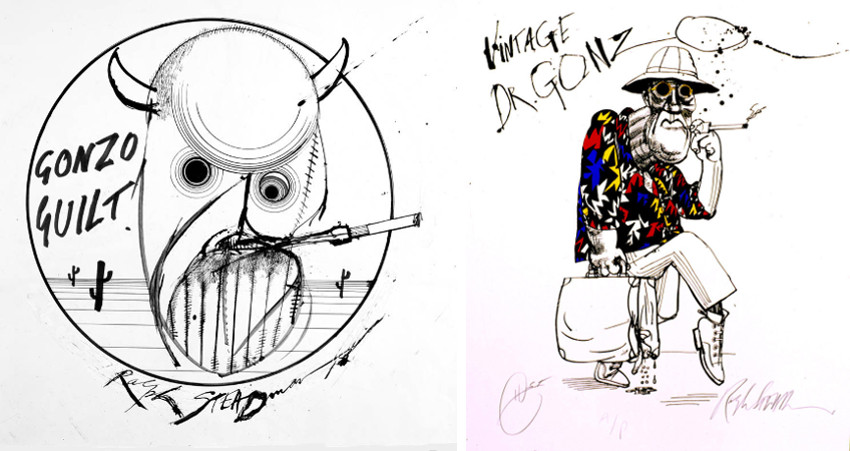 Ralph Steadman - Gonzo Guilt (Left) - Vintage Dr. Gonzo (Right), prints
