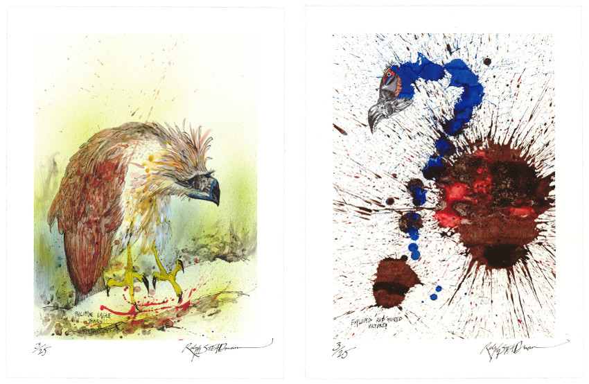 Ralph Steadman - Nextinction - Philippine Eagle, 2015 (Left) - Nextinction - Exploded Red Headed Vulture, 2015 (Right), images courtesy of Lazarides