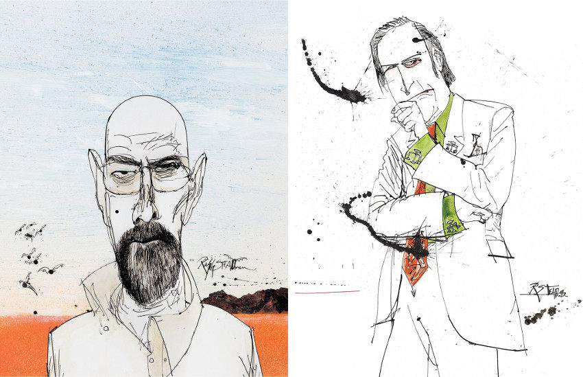 Ralph Steadman - Season 1- Walter White (Left) - Season 3- Saul Goodman (Right), images via theguardiancom