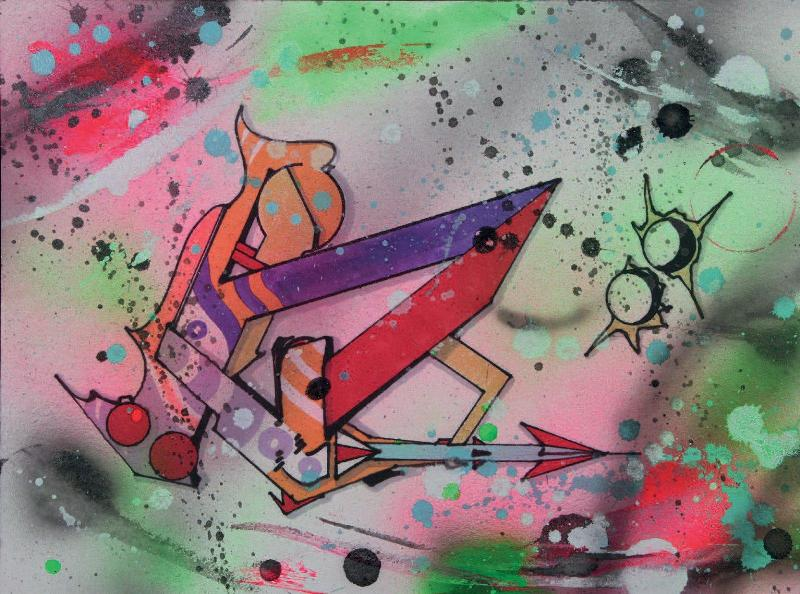 "Rammellzee - Ikonoklast Panzerism letter ""B"", 1987 (38,3 x 51 cm)"