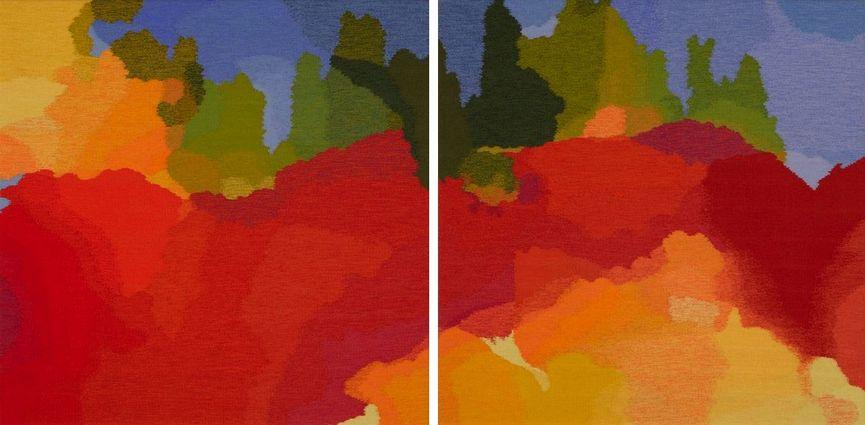 Ramona Sakiestewa (Hopi), Nebula 22 & 23 (diptych), 2009