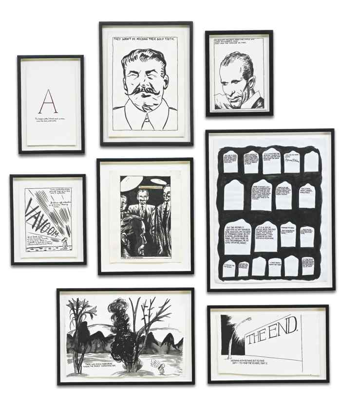 Raymond Pettibon-Eight Works: I. Untitled (A...) II. Untitled (They Won'T Be...) III. No Title (50 Bullets Couldn'T...) IV. Untitled (Every Pulsation Of...) V. Untitled (Noon, I Was So Tired...) VI. Untitled (You Are To Read...) VII. Untitled (There Was Much Murmuring...) VIII. Untitled (The End. Nothing)...-1996