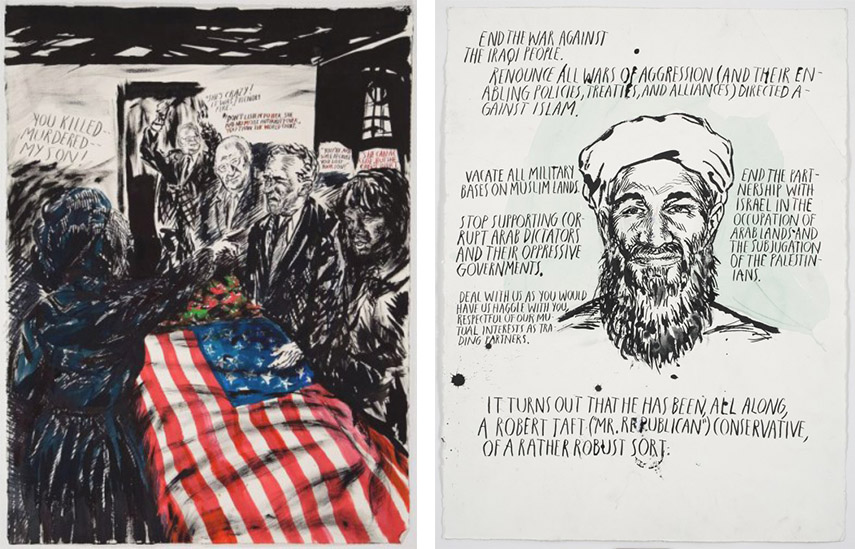 gallery time contact flag<br /> terms  home drawing Raymond Pettibon - You killed Murdered, 2007 (Left) - End the War..., 2007 (Right)