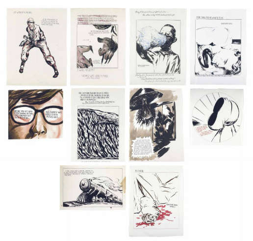 Raymond Pettibon-(i) Untitled (I will sculpt!) (ii) Untitled (One such wave) (iii) Untitled (That was to be no more...) (iv) Untitled (I wish we would consent) (v) Untitled (The cotton candy...) (vi) Untitled (Before you get...) (vii) Untitled (Life without a fastball) (viii) Untitled (I take your copy...) (ix) Untitled (Kryptonite kisses) (x) Untitled (Whatever death means)-1990