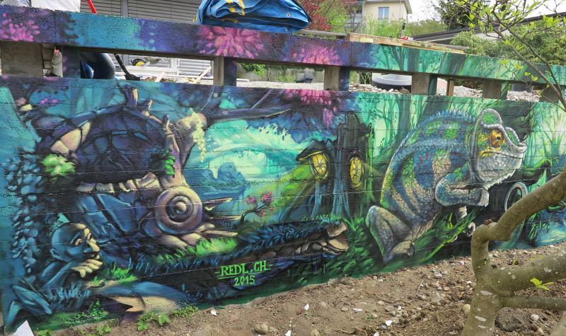 Redl - Chameleon - Switzerland, Zurich, 2015 - detail, street art