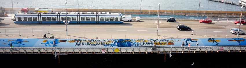 Redl - One love for Zurich - Switzerland, Zurich, Quaibrücke, 2015 - middle, street art, mural