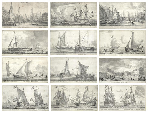 Reinier Nooms Zeeman-Various Ships and Views of Amsterdam II-1650