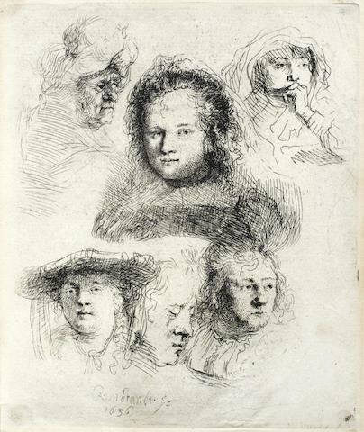 Rembrandt van Rijn-Studies of the head of Saskia and others-1636