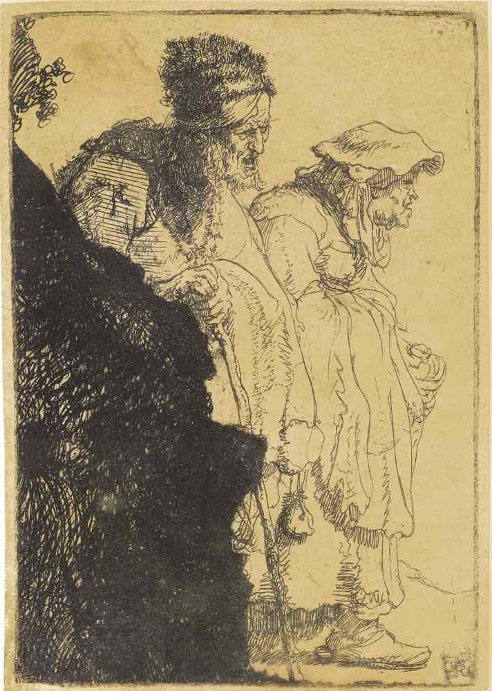 Rembrandt van Rijn-Beggar Man And Woman Behind A Bank-