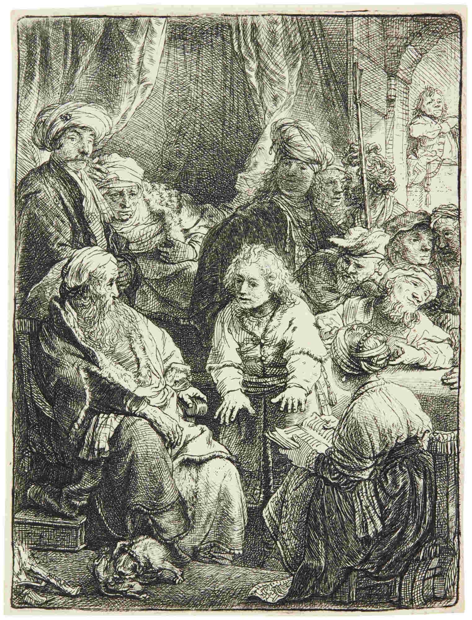 Rembrandt van Rijn-Joseph Telling His Dreams (Bartsch, Hollstein 37; New Hollstein 167; Hind 160)-1638