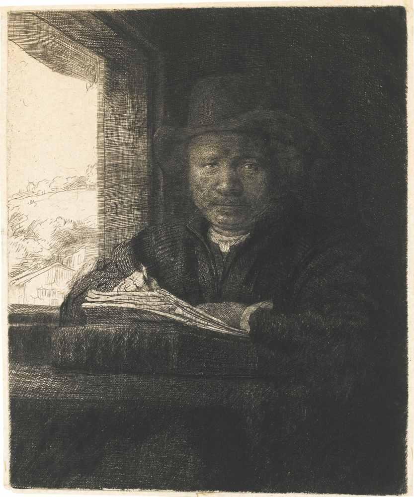 Rembrandt van Rijn-Self Portrait Drawing At A Window-1648
