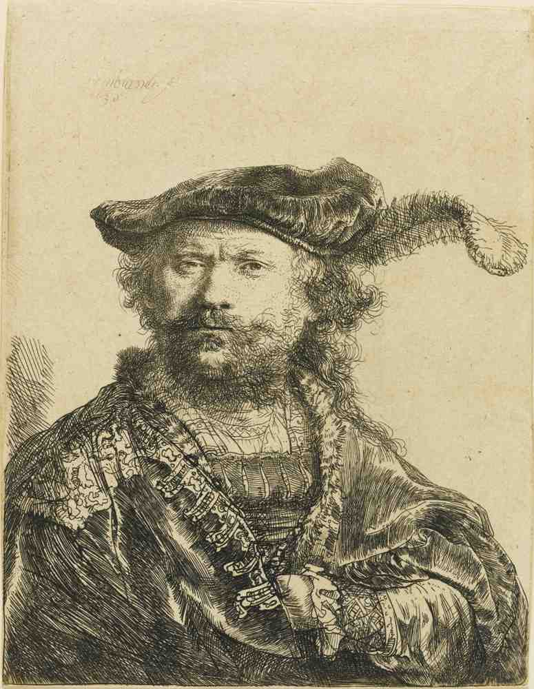 Rembrandt van Rijn-Self Portrait In A Velvet Cap With Plume-1638