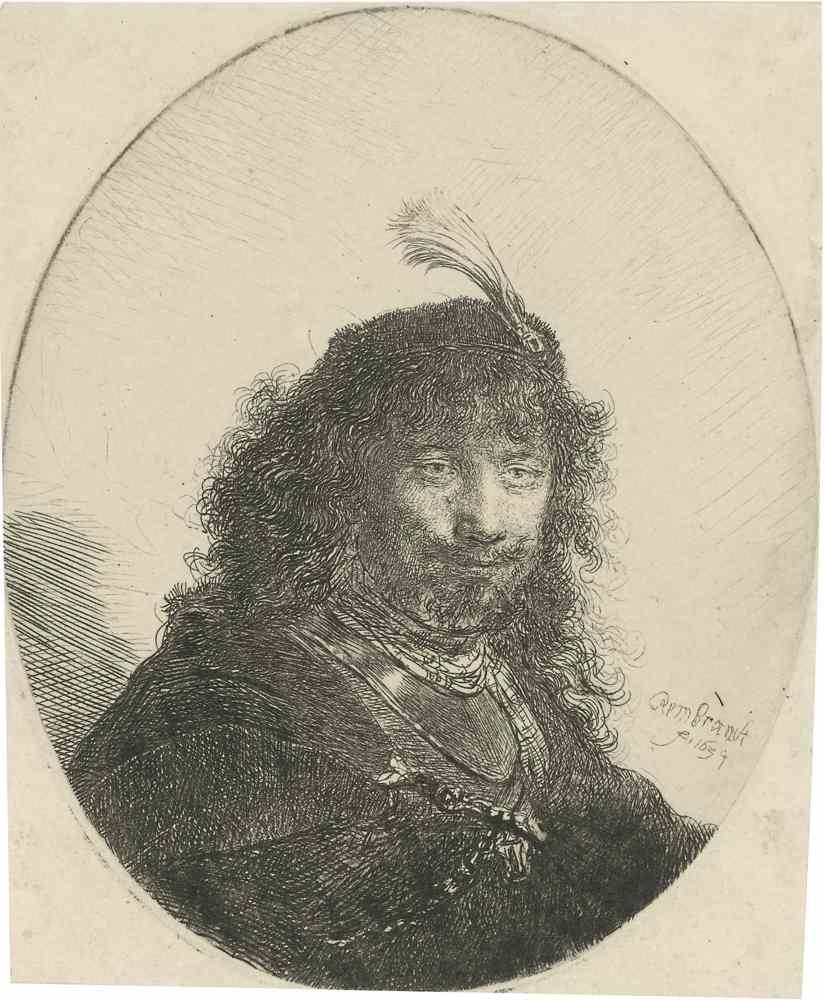 Rembrandt van Rijn-Self Portrait(?) With Plumed Cap And Lowered Sabre-1634