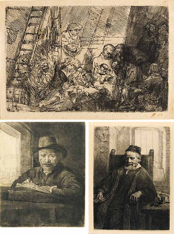 Rembrandt van Rijn-The Circumcision In The Stable; Jan Lutma, Goldsmith; And Self-Portrait Drawing At A Window-1654