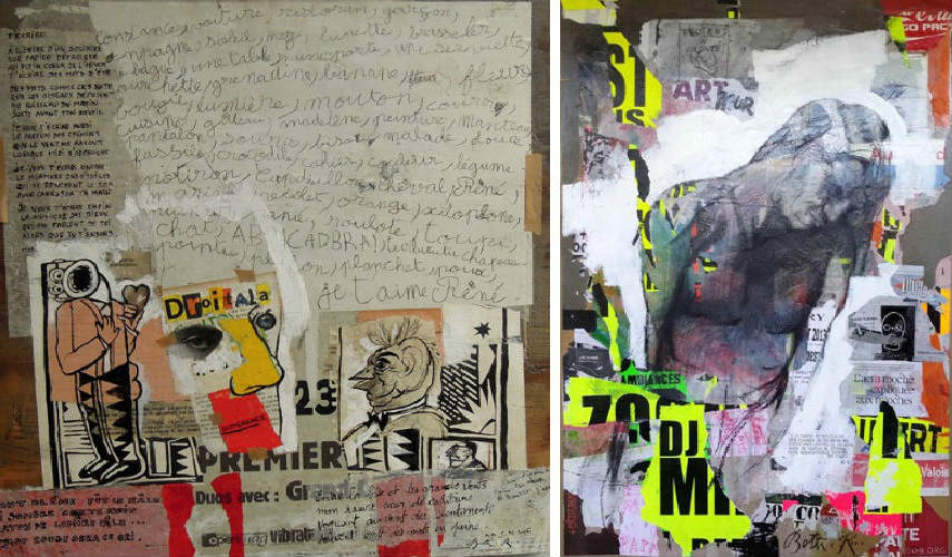 Rene Botti - Untitled (Left) - Palissade l actu moche (Right), photo credits galerie-feuillantine.com