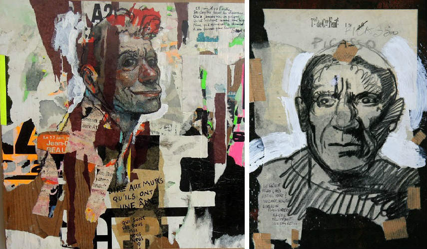 Rene Botti - Untitled, photo credits galerie-feuillantine.com (Left) - Picasso, Le génie Français, photo credits delartsurlapanche.com (Right)