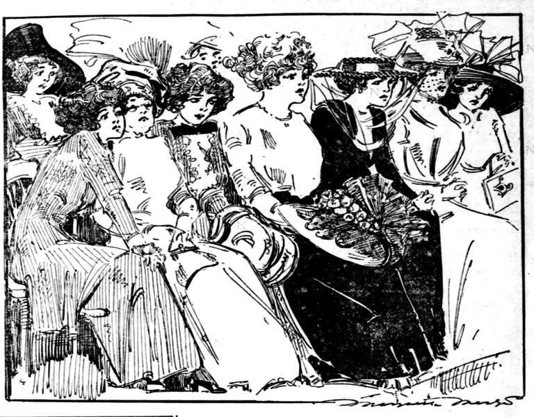 Reporter-artist Marguerite Martyn made this sketch of spectators at the murder trial of Dora Doxey, printed in the St. Louis Post-Dispatch on June 2, 1910