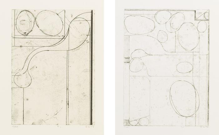 Richard Diebenkorn-Six Softground Etchings: Plates I, II, III & V-1978