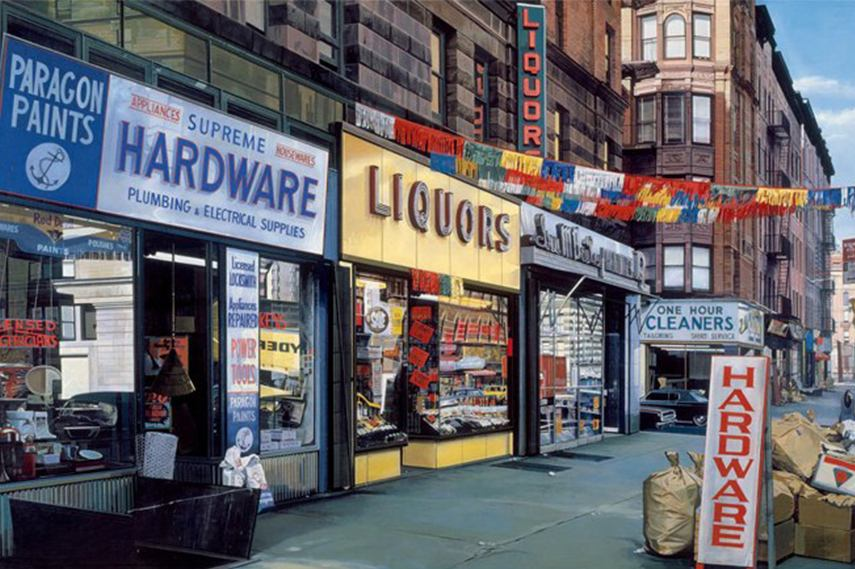 realism photographs painters subject policy privacz using museums Richard Estes - Supreme Hardware, 1974 american painting photorealist