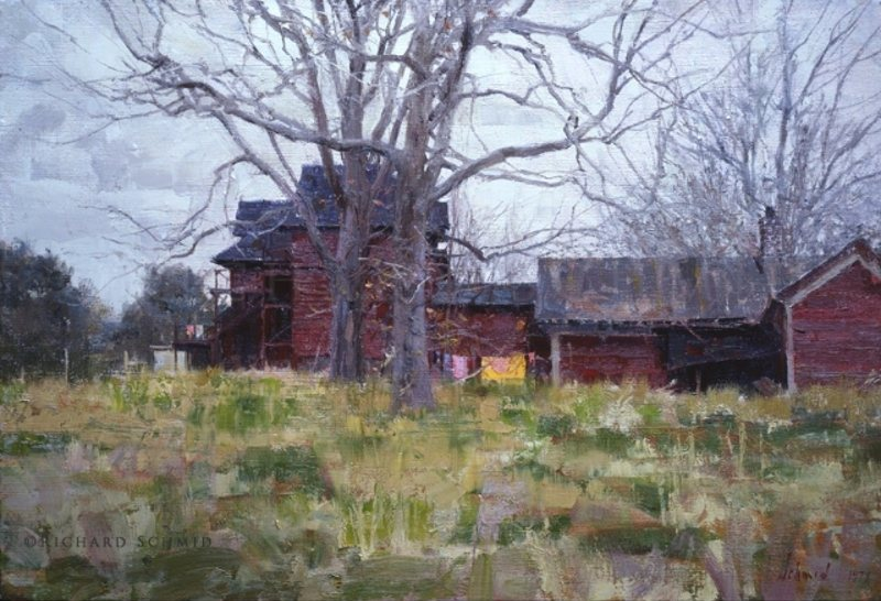 Richard Schmid new oil landscape features a house / home whose privacy is intact.