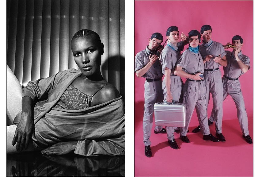 "Right AllanTannenbaum - Disco Diva Grace Jones strikes a sultry pose news, NYC, 1978. Right Allan Tannenbaum - Devo pose in Tannenbaum's Duane Street studio for the SoHo Weekly News' work ""Devo fashion feature"", NYC,1981."