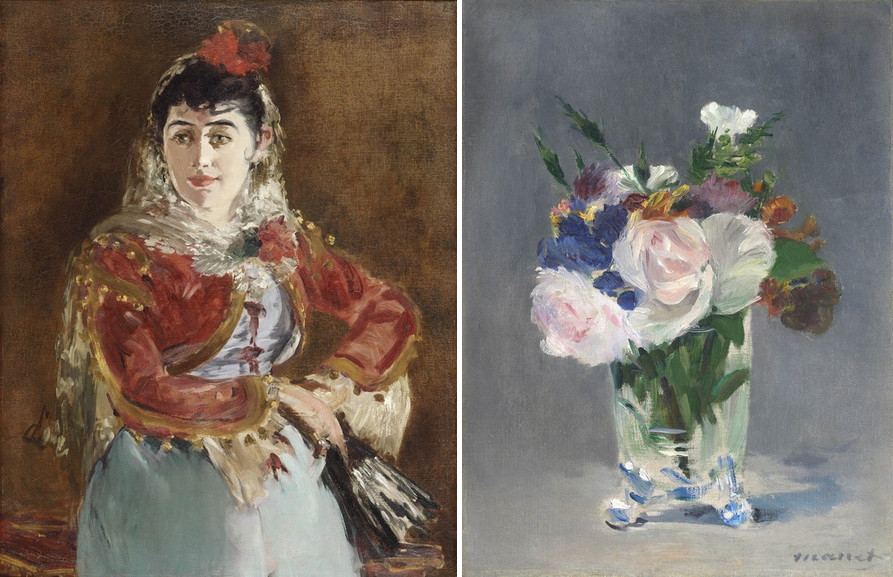 Right Edouard Manet – Portrait of Emilie Ambre Left Edouard Manet – Flowers in a Crystal Vase