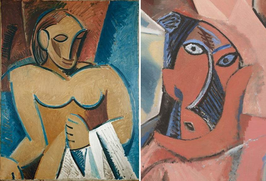 Right Pablo Picasso - Nu a la serviette Left Pablo Picasso - Les Demoiselles d Avignon detail of the figure to the lower right