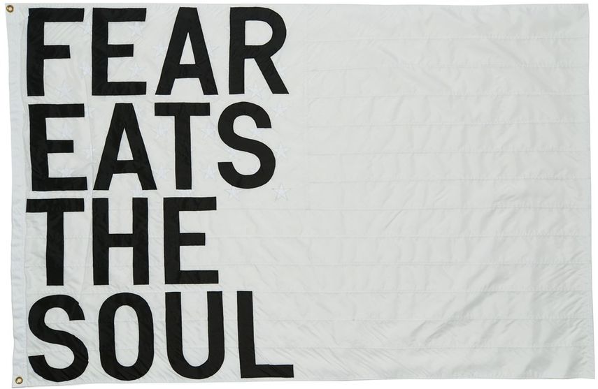 Rirkrit Tiravanija - Untitled (fear eats the soul) (white flag), 2017