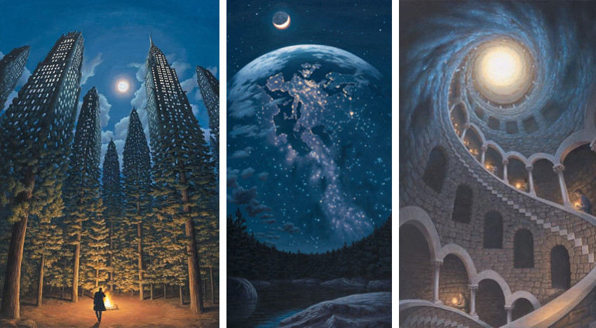 Rob Gonsalves - Arboreal Office (Left) - Night Lights (Center) - Stardust (Right), images courtesy of Sapper Galleries, paintings, rob, gonsalves, rob