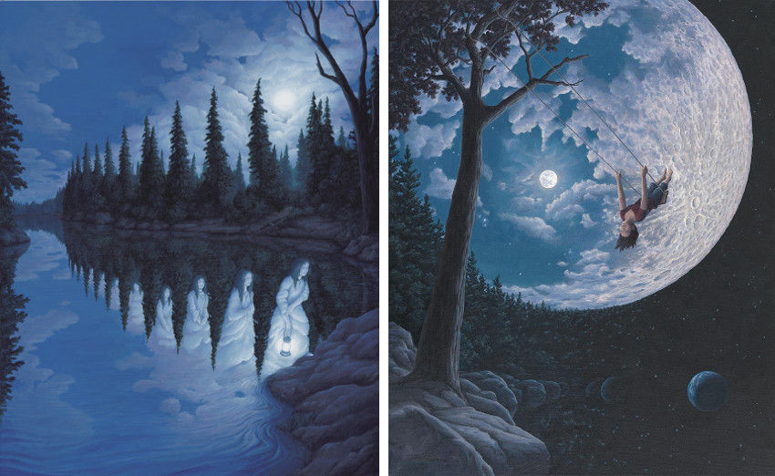 Rob Gonsalves - Ladies Of The Lake (Left) - Over the Moon (Right), images courtesy of Marcus Ashley Gallery, prints, sign, using, post, paintings, rob, gonsalves, surreal, mind, books, rob, book