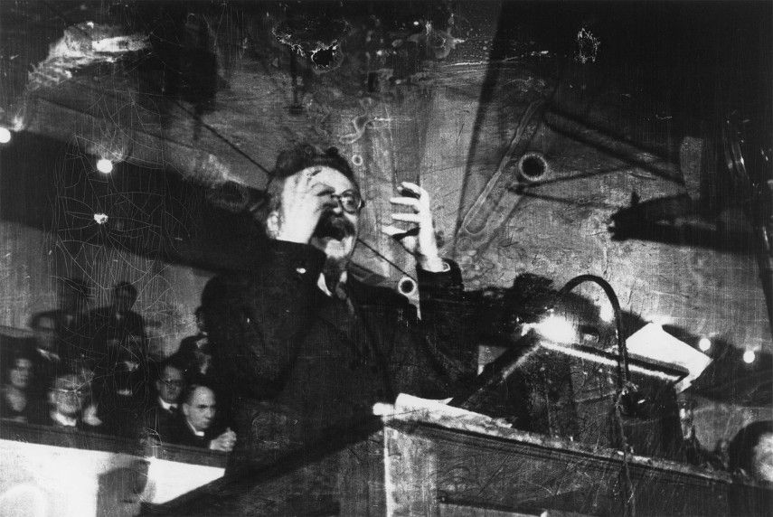 Robert Capa - Leon Trotsky Speaking in Copenhagen, 1931- Image via atlasgallerycom