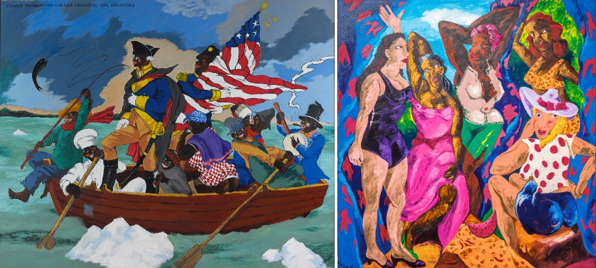 Robert Colescott - George Washington Carver Crossing the Delaware, Page from an American History Textbook, 1975; Les Demoiselles d'Alabama Vestidas, 1985