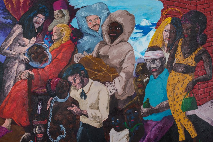 Robert Colescott - Knowledge of the Past is the Key to the Future Matthew Henson and the Quest for the North Pole, 1986