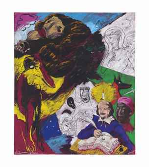 Robert Colescott-Shakespeare's Africans (Suicide, Tragedy)-1994
