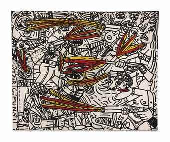 Robert Combas-Coups de feu jaunes et rouges-1982
