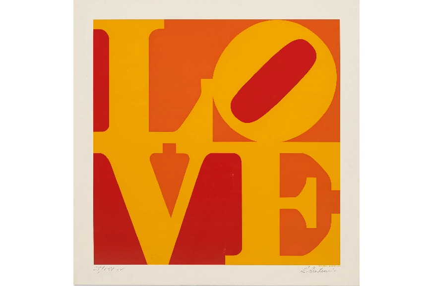 Robert Indiana - Golden Love, 1973; give art instead heart paper cards for valentines