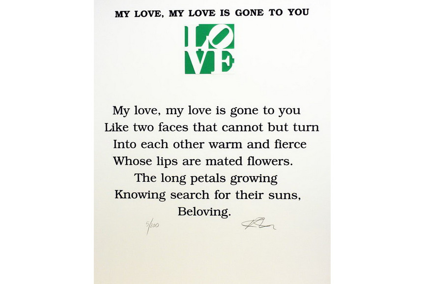Robert Indiana - My Love, My Love is Gone To You Poem, Book of Love