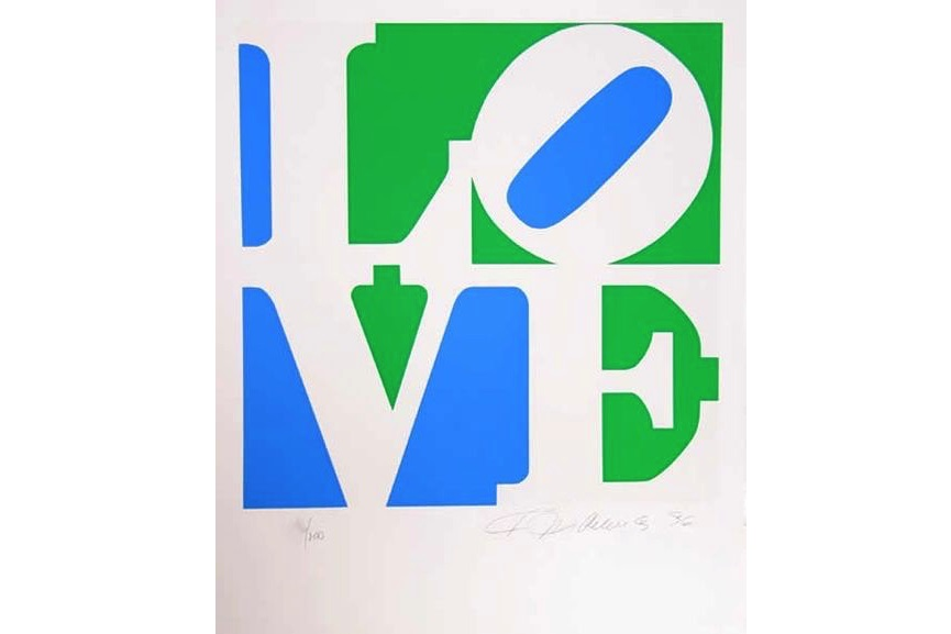 Robert Indiana - The Book of Love 8 (green, white, blue), 1996