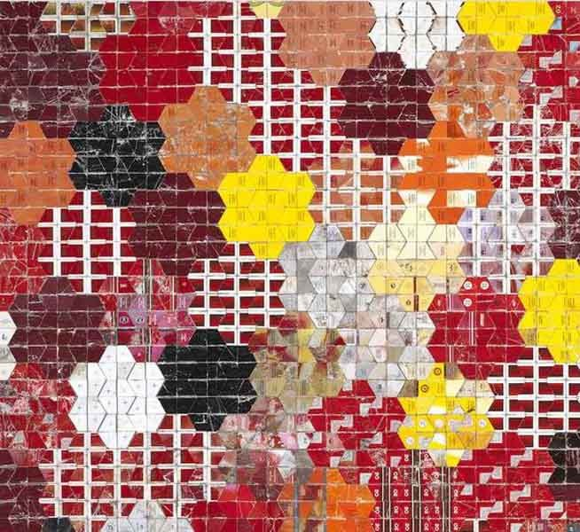 Robert Larson - Red Tessellation, Discarded Marlboro cigarette packaging on linen, 2013