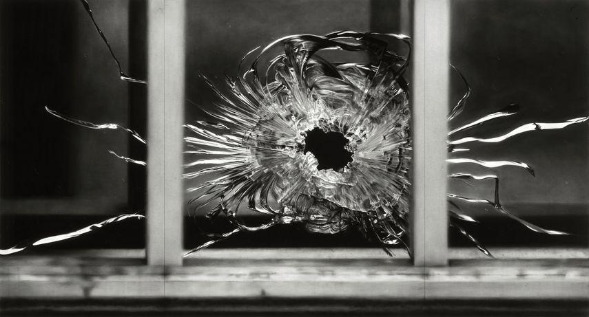 Robert Longo - Untitled (Bullet Hole in Window, January 7, 2015). 2015-2016