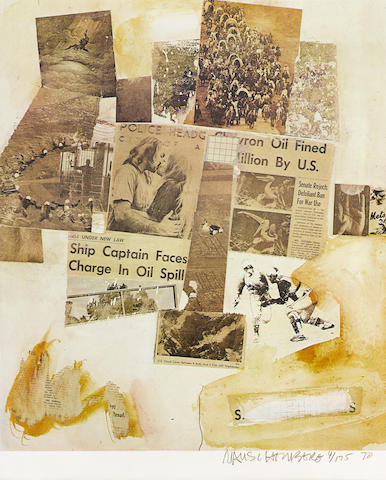 Robert Rauschenberg-Ship Captain Faces Charge in Oil Spill, from Peace Portfolio I-1970