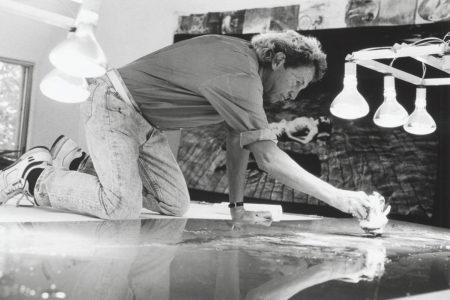Robert Rauschenberg working on a metal painting in his Laika Lane studio, Captiva, Florida, 1989