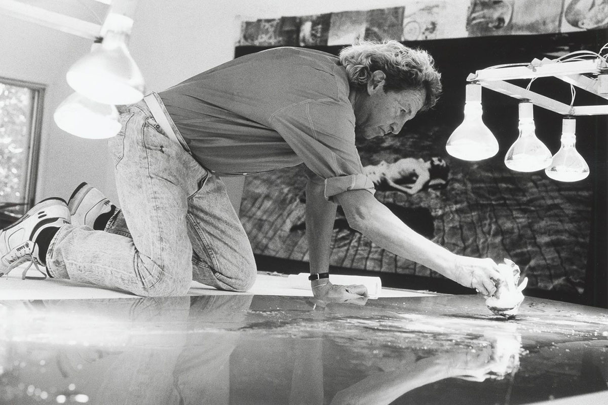 Robert Rauschenberg working on a metal painting in his Laika Lane studio, Captiva, Florida, 1989