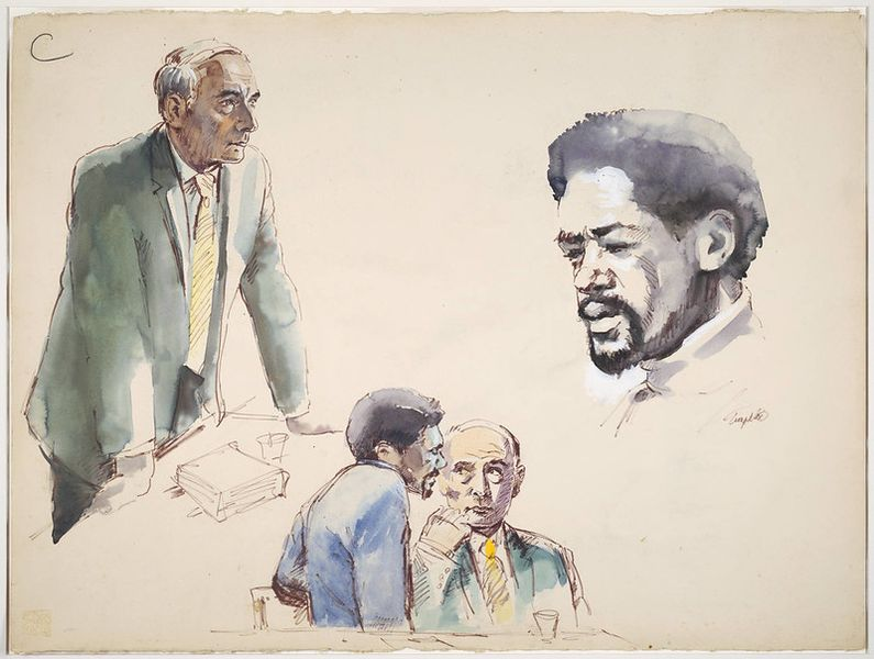 Robert Templeton Drawings and sketches related to the trial of Bobby Seale and Ericka Huggins, New Haven, Connecticut, 1971