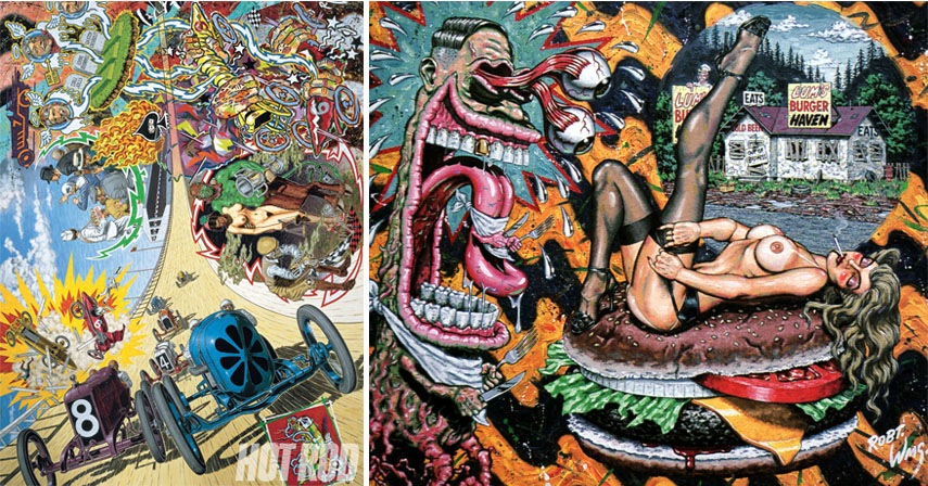 Early Lowbrow art painting style by Robert Williams, inspired by comics, erotic novels, hot rod culture and underground aesthetics