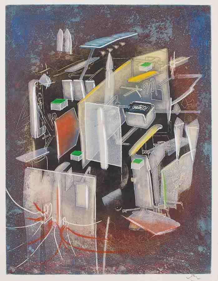 Roberto Matta-Etre hommande, plate VIII, from Hom'mere III, L'Ergonaute-1977