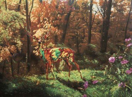 Ron English-Camo Deer In Autumn-