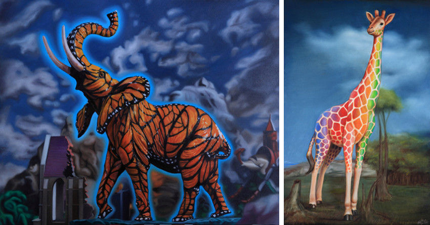 Ron English - Monarch Elephant Profile (Left) - Rainbow Giraffe (Right)