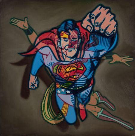 Ron English-Superman/Wonder Woman-1992